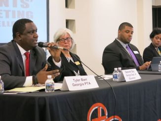 Georgia PTA President Tyler Barr (left) speaks on a panel for the Every Student Succeeds Act, alongside Georgia Department of Education Deputy Superintendent Deborah Gay, DeKalb County School District Director of Research, Assessments and Grants Dr. Knox Phillips and Atlanta NAACP Education Committee member Patrice Barlow, during a parents' town hall at Ebenezer Baptist Church in Atlanta on Oct. 23.