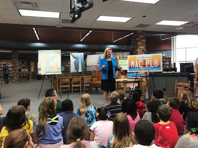 Secretary of State Ruth Johnson talks with students at Rankin Elementary School in Swartz Creek on March 27.