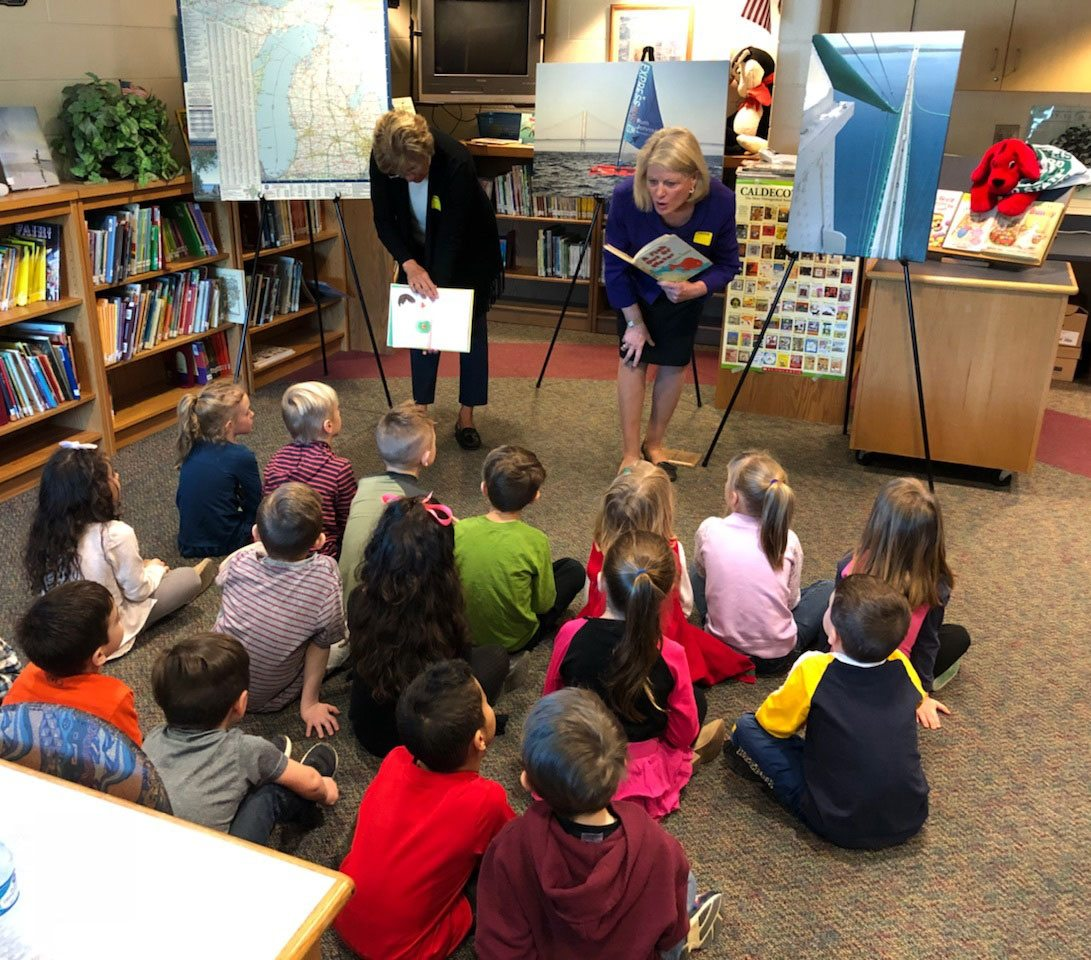 "Secretary of State Ruth Johnson reads ""A Fish Out of Water"" to kindergarten/Pre-5 students at Thomson Elementary School in Davison on March 23."