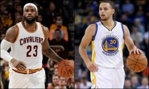 Cleveland Cavaliers LeBron James (left) and Golden State Warriors Stephen Curry (right)