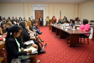 U.S. Rep. Karen Bass leads a panel on females formerly incarcerated to help legislators understand how best to provide intervention services. (Courtesy Photo)