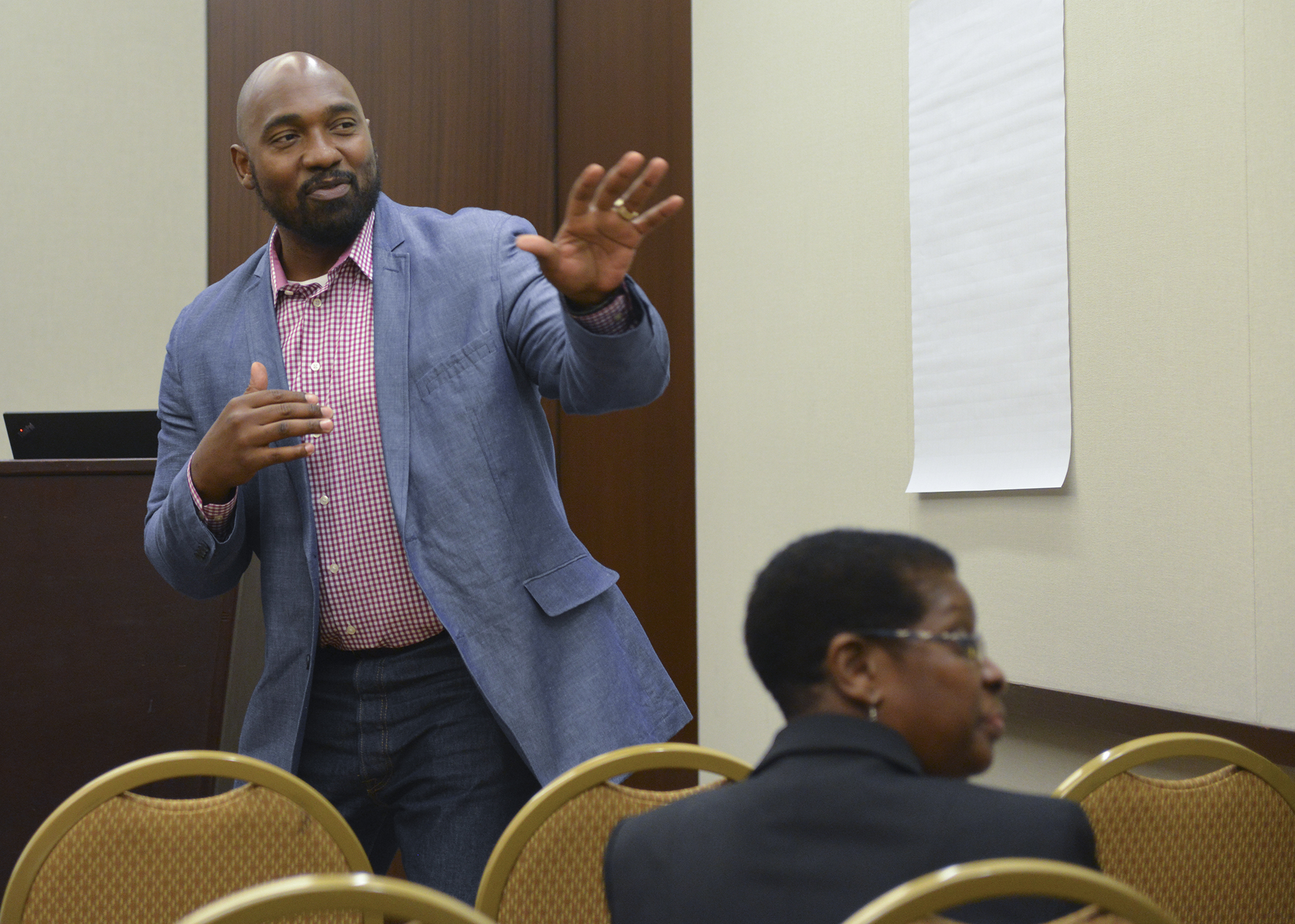 Justin Wooley, a consultant with the Black AIDS Institute, speaks during a session on raising awareness about PrEP among heterosexual Black males at the Institute's annual PrEP summit in Washington, D.C. (Freddie Allen/NNPA News Wire)