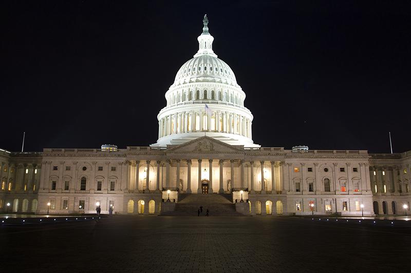 The United States Capitol Building at night, Washington DC