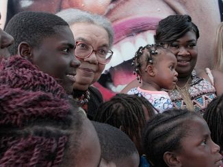 Children's Defense Fund founder Marian Wright Edelman (center) speaks to young people outside Madison S. Palmer High School in Marks, Miss., on July 12, 2017.