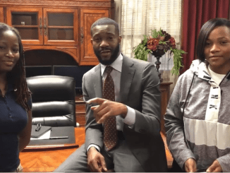 Ta'Kaiya Cooper (left) and Ashleigh Richardson (right) with Birmingham Mayor Randall Woodfin are among more than 300 students across the country named winners in C-SPAN's national 2018 StudentCam competition (C-SPAN)
