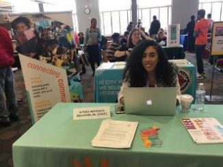 Tatiana Diaz of Artists Working in Education came to the job fair looking for 2 summer interns. (Photo by Evan Casey)