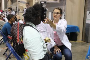Students and staff from the Southern College of Optometry provided eye exams and prescriptions to dozens of Memphis' homeless during Project Homeless-Connect