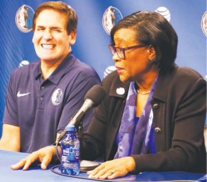 Cynthia Marshall and Mark Cuban at her introductory press conference.