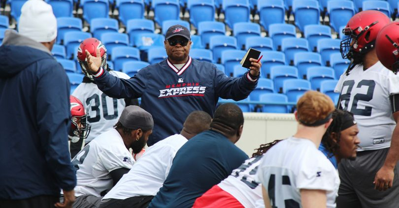 """""""Coaching (the Express), one after the other, it's outstanding. Everything I want to do is coaching and meeting and developing (players) and I'm excited about that,"""" says Mike Singletary"""