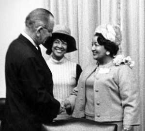 Mildred Brown meets President Johnson