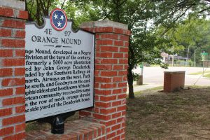 The Orange Mound historical marker sits on Park Avenue, in front of the Orange Mound Community Services Center and Vertie M. Sails gymnasium.