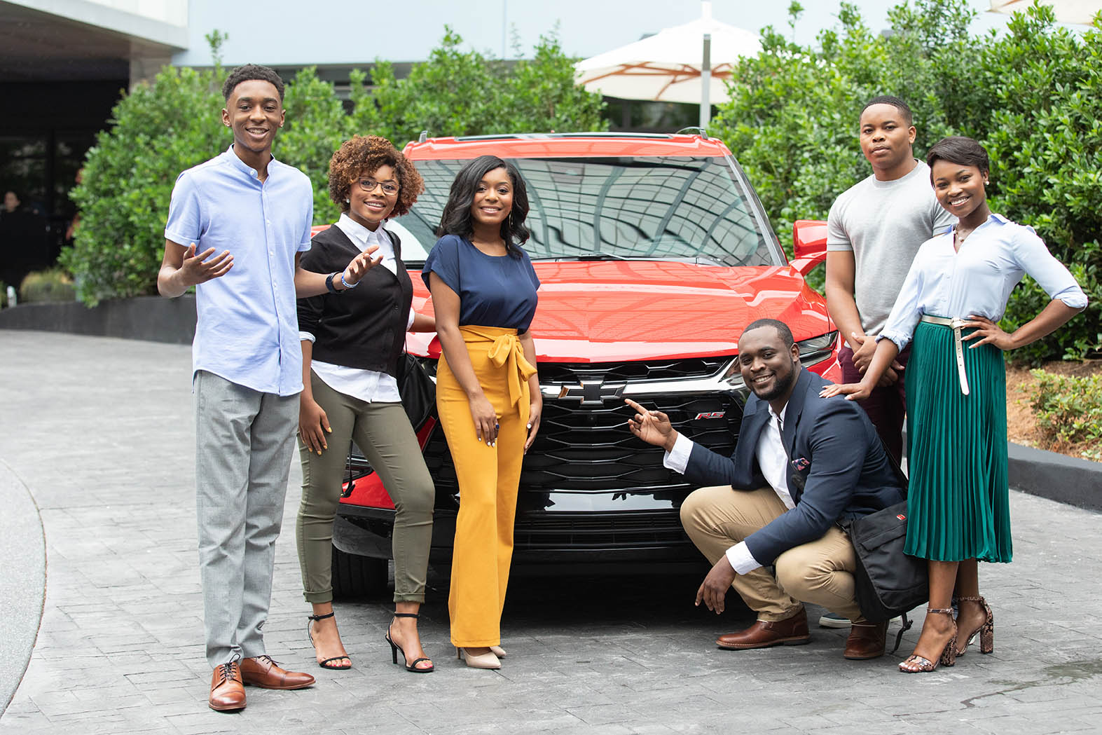 Chevrolet announced on Friday, June 7 the 2019 Discover the Unexpected Fellows (left to right): Elae Hill (North Carolina A&T), Sharon Joy Washington (Florida A&M), Tyla Barnes (Hampton University), Tedarius Abrams (Bethune-Cookman University), Emani Nichols (Morehouse College) and Miana Massey (Howard University) pictured with the all-new 2019 Chevrolet Blazer. In partnership with the National Newspapers Publishers Association, these young aspiring journalists will embark on an 8-week road trip to discover and share positive stories within African American communities.