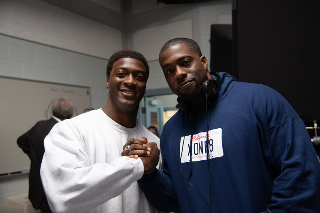 Actor Aldis Hodge (left) and the real life Brian Banks (right) on the set of Tom Shadyac's BRIAN BANKS, a Bleecker Street release.
