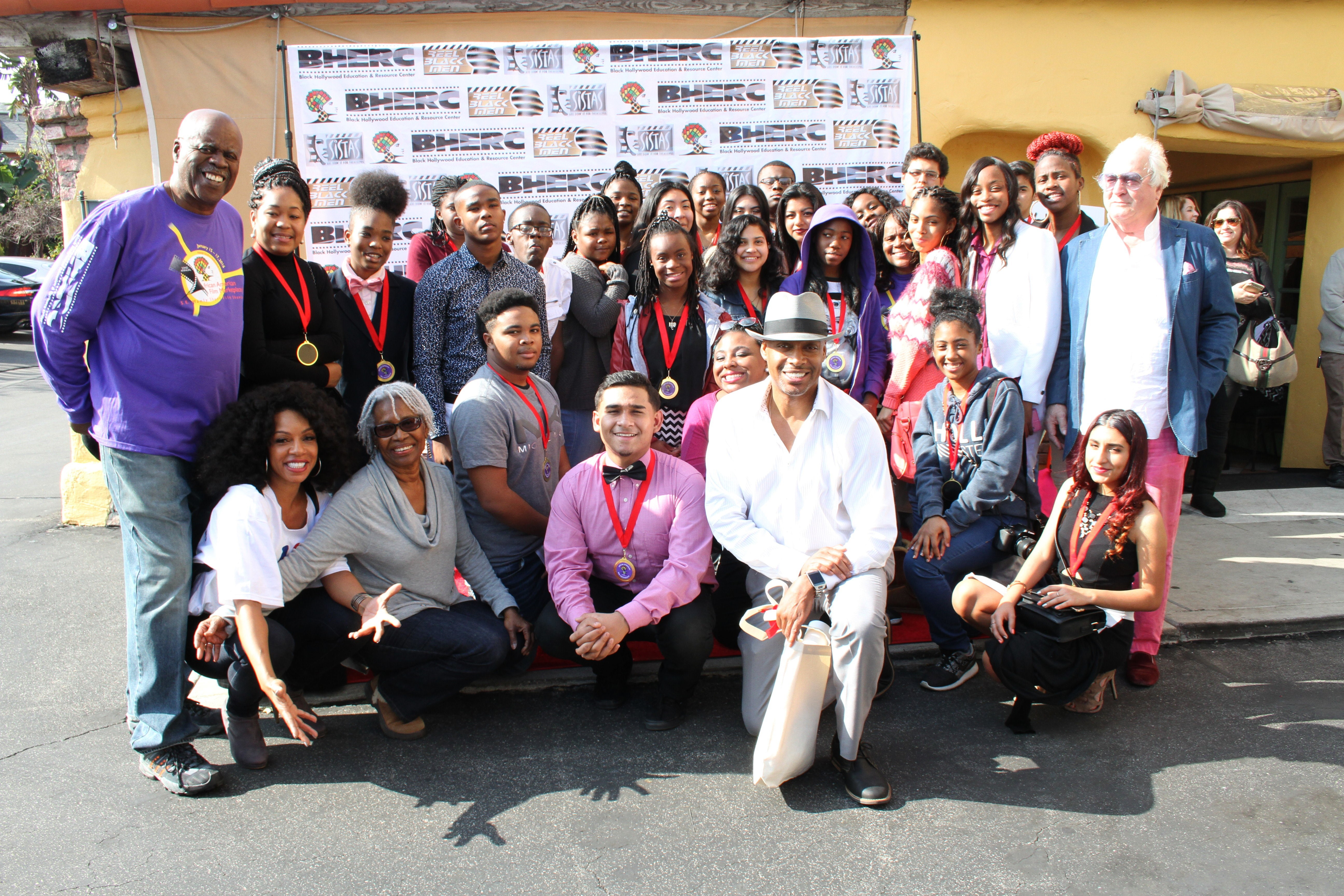 Past Youth Diversity Filmmakers with talented actress Wendy Raquel Robinson, festival directors and teachers