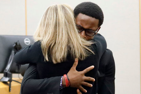 "In a stunning turn of events, Brandt Jean, the 18-year-old brother of the victim, Botham Jean, asked Judge Kemp if he could ""give her (Amber Guyger) a hug."" He pleaded with Judge Kemp, ""Please."" There was a brief pause of silence before Judge Kemp responded, ""Yes."" (Photo: Cheryl Smith / I Messenger Media L.L.C.)"