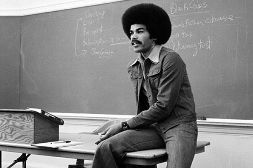 Faculty member and former Black Studies chair Darrell Millner lecturing in 1975. (courtesy of PSU)