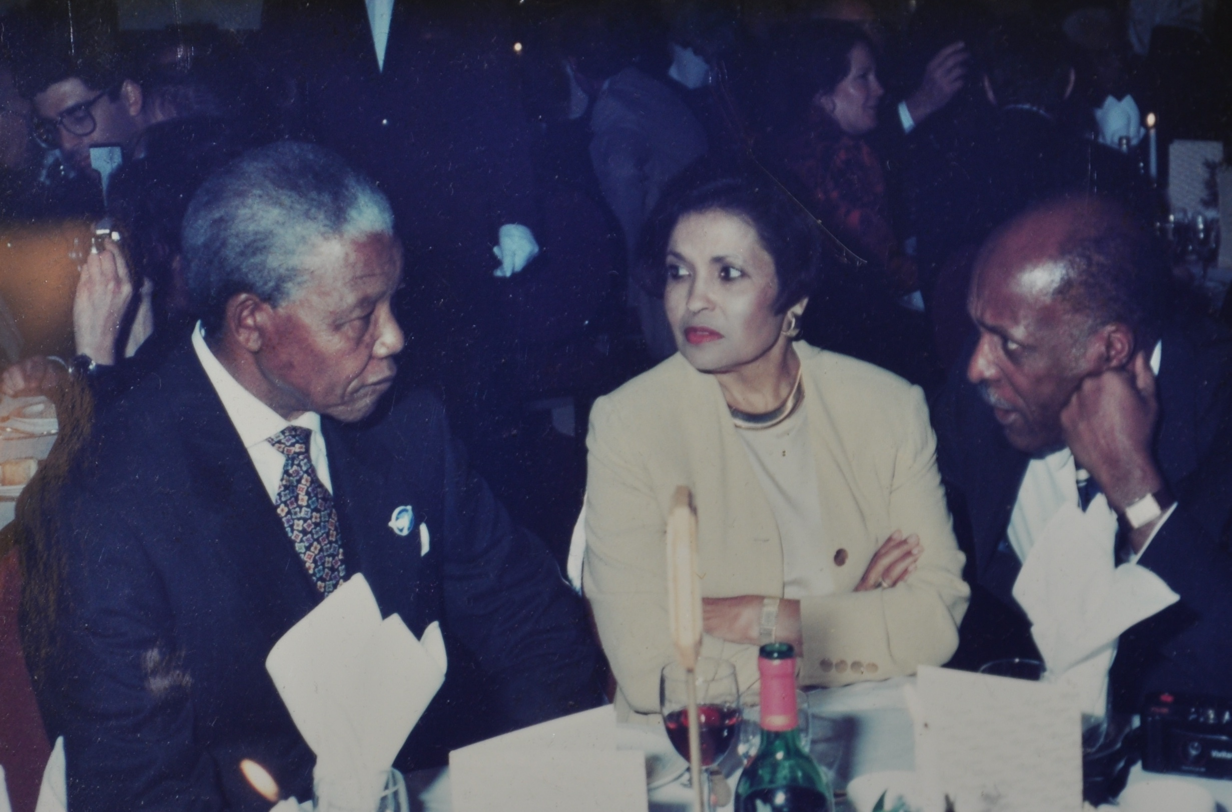 Dinner with South African President Nelson Mandela. In a once-in-a-lifetime experience, Cincinnati federal Judge Nathaniel Jones and his late wife Lillian were asked to dine with South African President Nelson Mandela during Jones' second visit to the country when he assisted in the drafting of a new constitution for South Africa. Photo provided