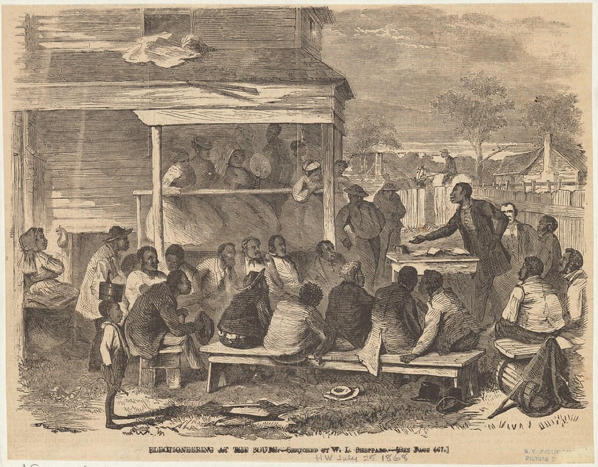 Electioneering in the South, circa 1868. Art and Picture Collection, The New York Public Library, https://digitalcollections.nypl.org/items/510d47e1-3fa3-a3d9-e040-e00a18064a99