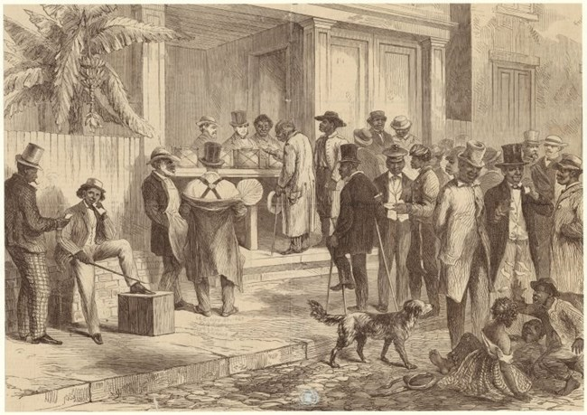 Freedmen Voting in New Orleans, circa 1867. Art and Picture Collection, The New York Public Library, https://digitalcollections.nypl.org/items/510d47e1-3fd9-a3d9-e040-e00a18064a99